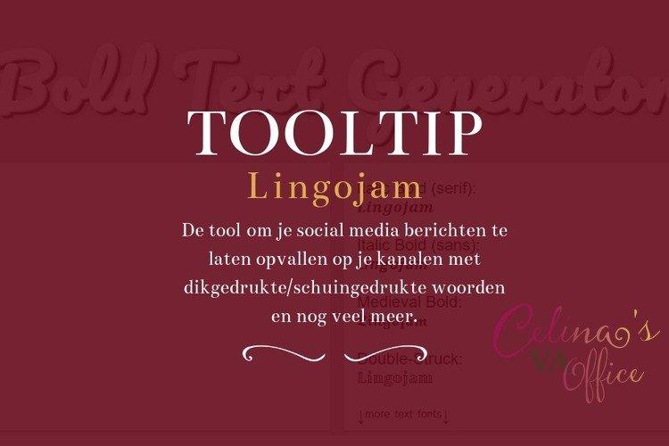 Tooltip | Lingojam om je Social Media berichten te laten shinen!